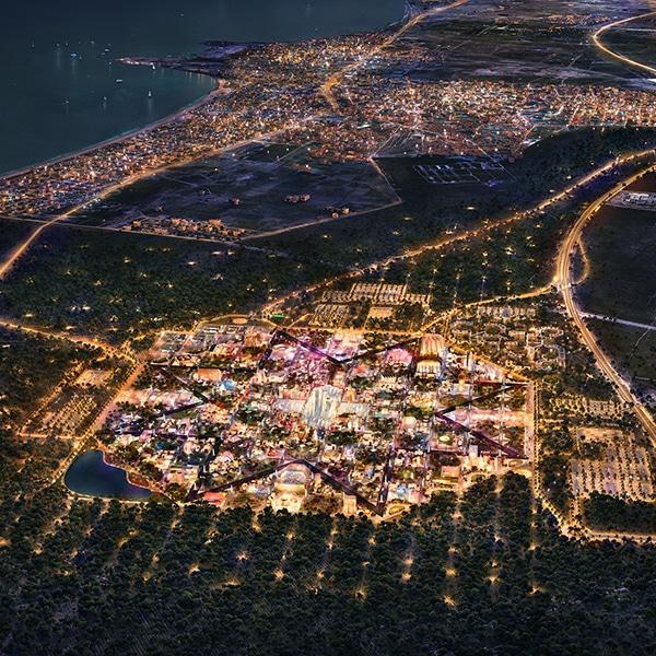 Baku commercial masterplan at night